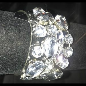 Jewelry - Rhinestone bling on clear plastic cuff with snaps